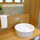 bamboo plywood vanity with vessel sink