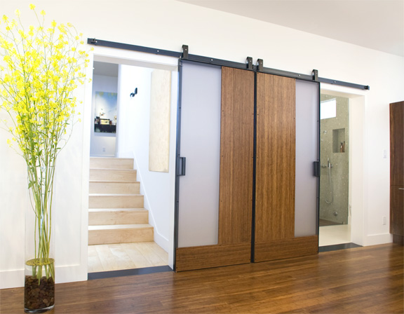 custom sliding barn doors of bamboo plywood, resin and steel